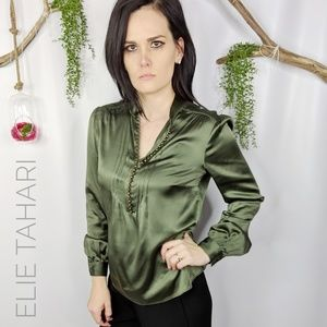 ELIE TAHARI silk pintucked button front blouse